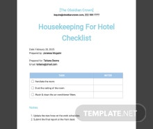 Housekeeping Checklist Template For Hotel Template