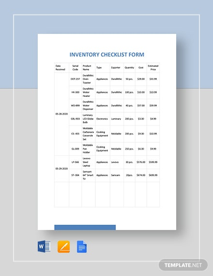Inventory Checklist Form