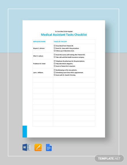 Medical Assistant Checklist Template