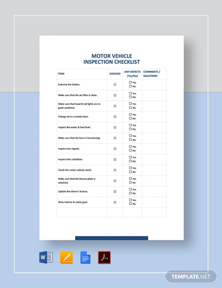 Motor Vehicle Inspection Checklist Template