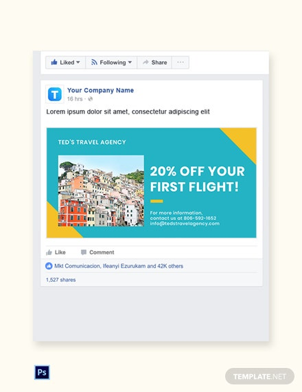 Free Holiday Travel Facebook Post Template
