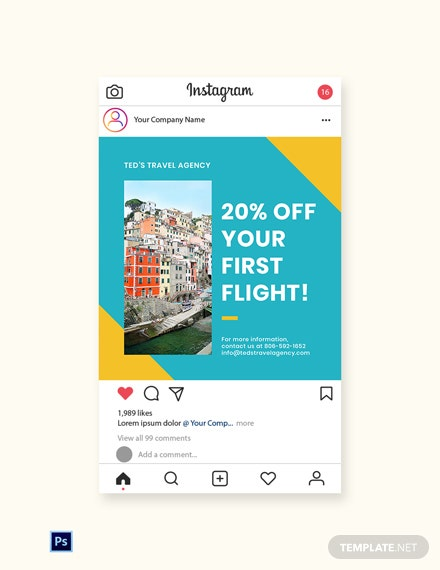 Free Holiday Travel Instagram Post Template
