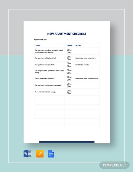 New Apartment Checklist Template