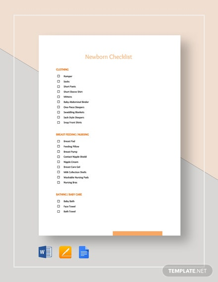 Newborn Checklist Template