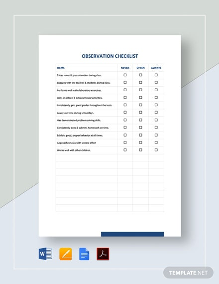 Observation Checklist Template