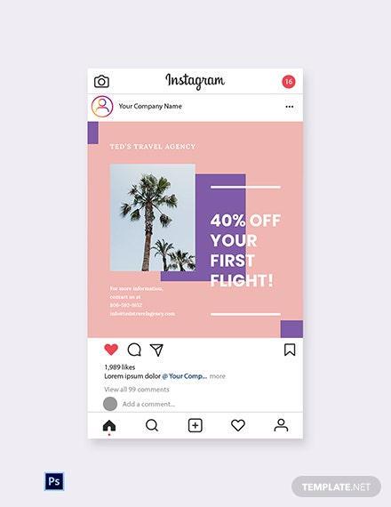 Free Travel Business Instagram Post Template