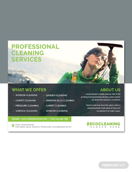 free commercial cleaning service flyer template  download