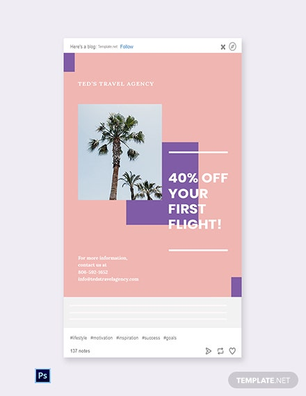 Free Travel Business Tumblr Post Template