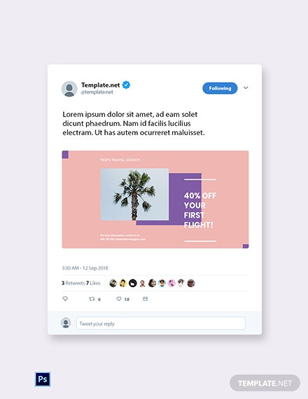 Free Travel Business Twitter Post Template