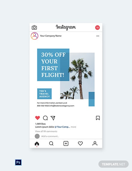Free Travel Company Instagram Post Template