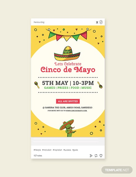 Free Cinco de Mayo Day Tumblr Post Template