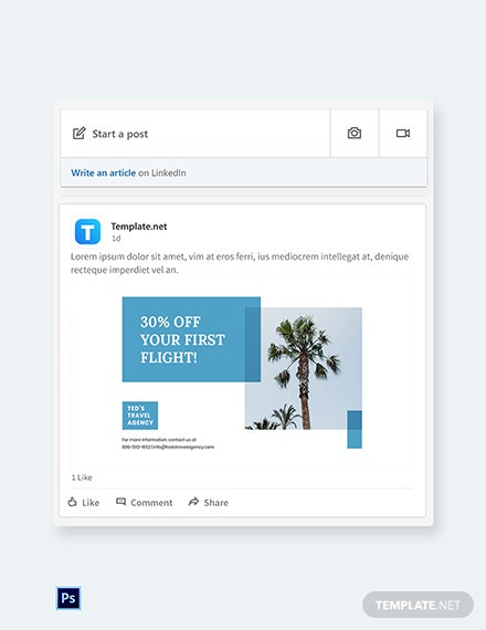 Free Travel Company Linkedin Post Template