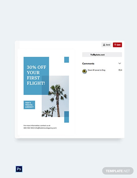 Free Travel Company Pinterest Pin Template