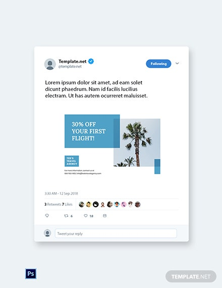 Free Travel Company Twitter Post Template