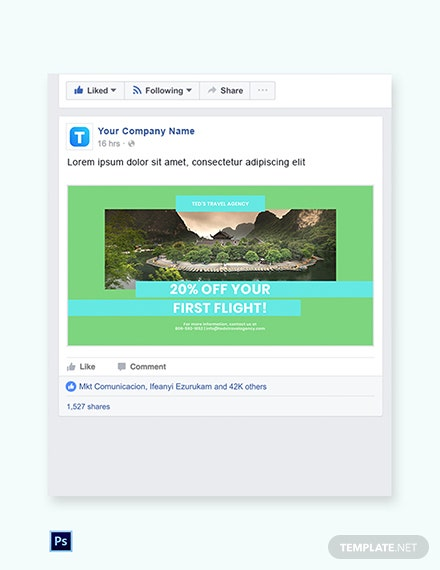 Free Vacation Travel Facebook Post Template