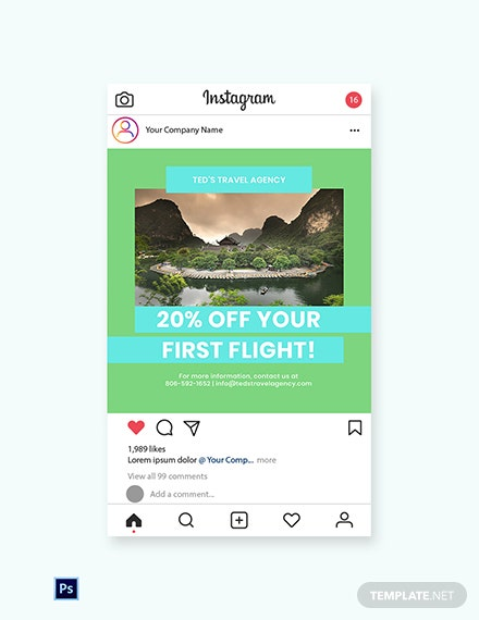 Free Vacation Travel Instagram Post Template