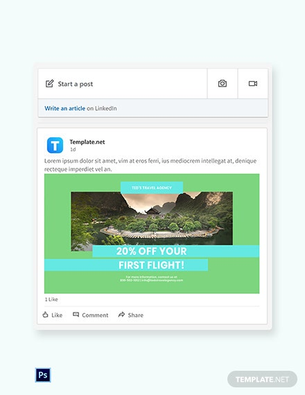 Free Vacation Travel Linkedin Post Template