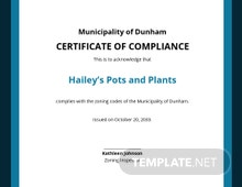 Municipal Certificate of Compliance