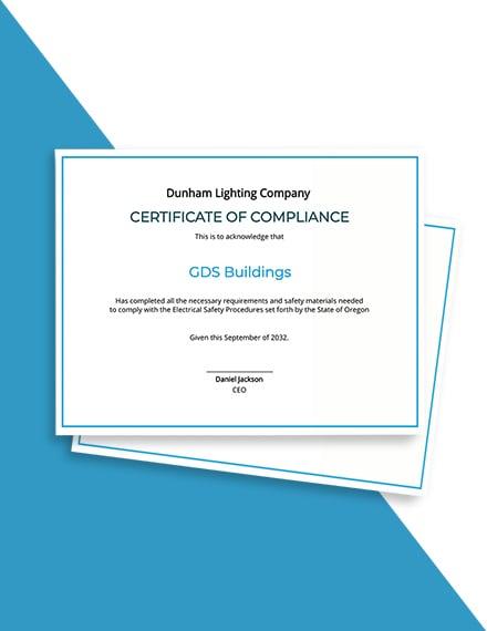 Electrical Compliance Certificate Template