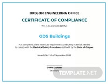 Electrical Compliance Certificate Template