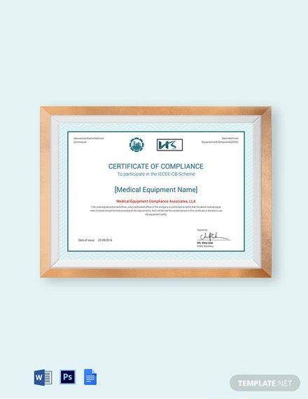 Equipment Testing Compliance Certificate