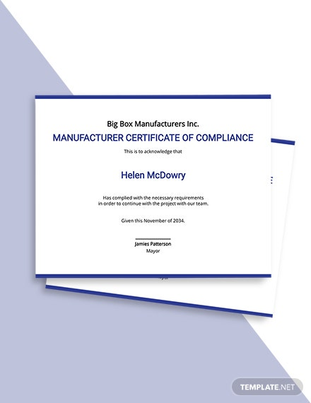 Manufacturer Certificate of Compliance