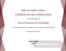 School Compliance Certificate Template