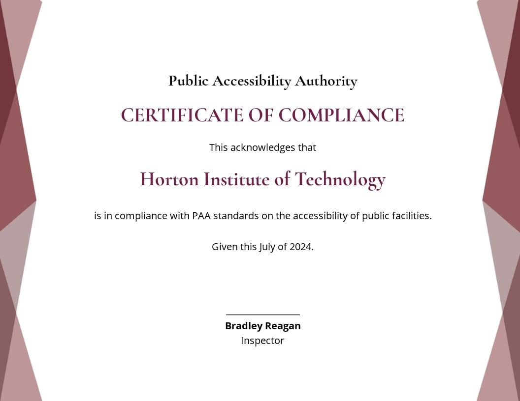 School Compliance Certificate Template