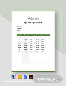 Sign In and Out Sheet Template