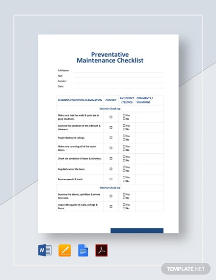 Preventative Maintenance Checklist Template
