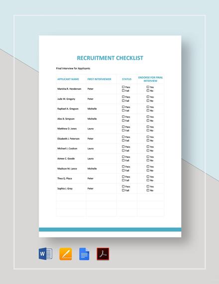 Recruitment Checklist Template