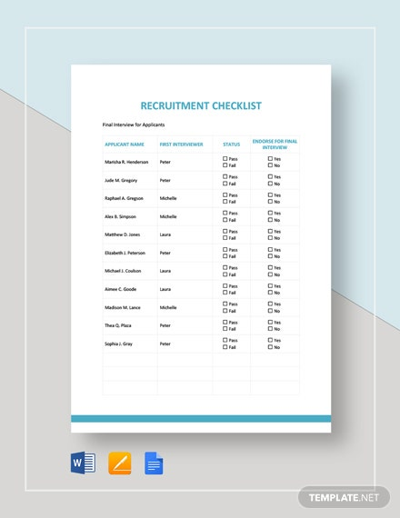 Recruitment Checklist Template