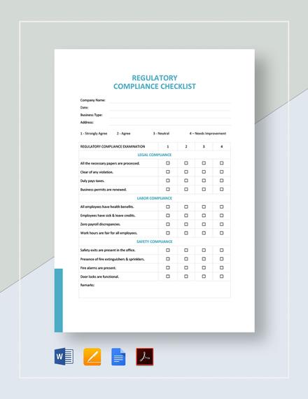 Regulatory Compliance Checklist Template
