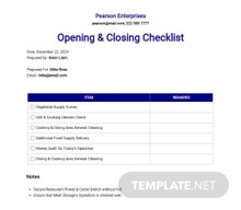Restaurant Opening And Closing Checklist Template