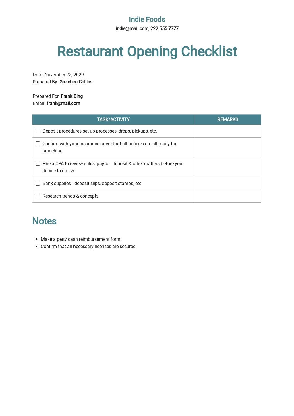 Restaurant Opening Checklist Form Template.jpe