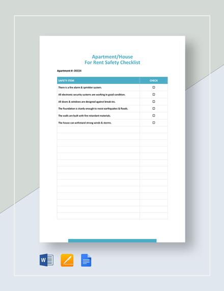 Safety Checklist Template