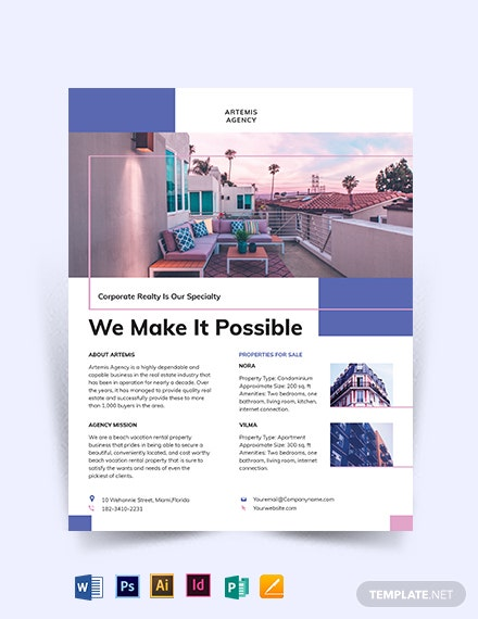 Beach Vacation Rental Flyer Template