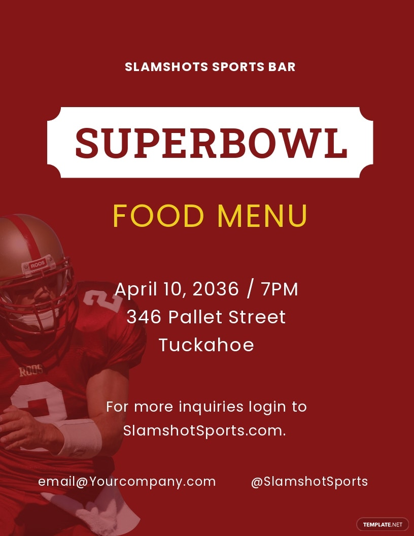 Football Super Bowl Food Menu Flyer Template