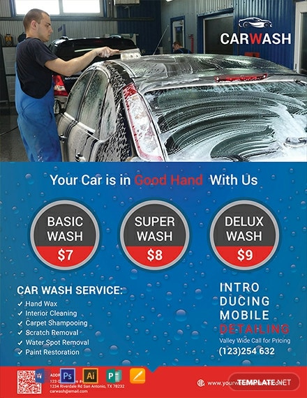 free hand car wash flyer template  download 1329  flyers