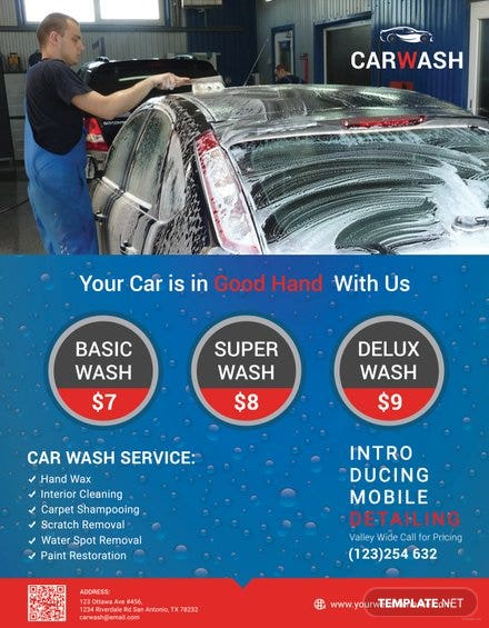 Free Hand Car Wash Flyer Template In Adobe Photoshop Illustrator