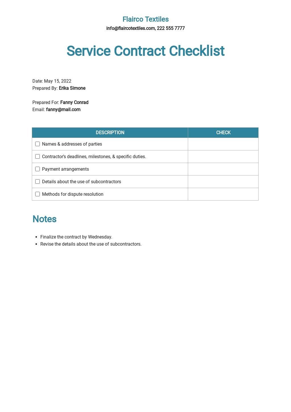 Service Contract Checklist Template