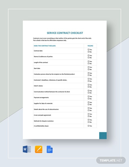 Service Contract Checklist Template