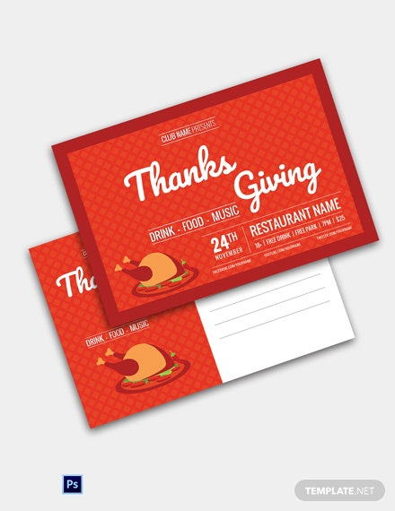 Restaurant Thanksgiving Postcard Template