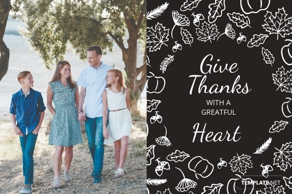 Family Thanksgiving Postcard Template