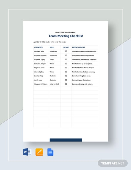 Team Meeting Checklist Template