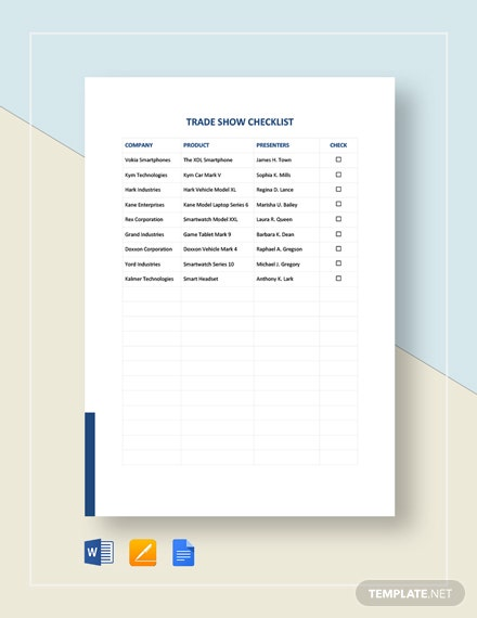 Trade Show Checklist Template