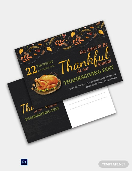 Thanksgiving Fest Postcard Template