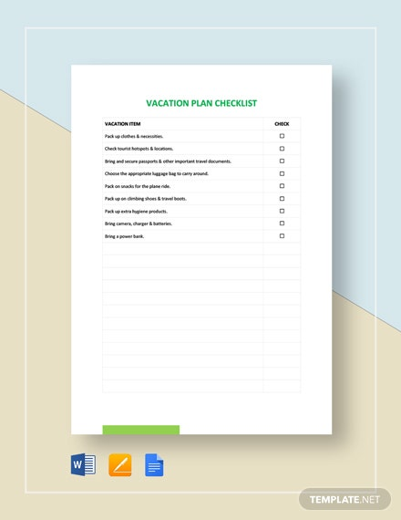 Vacation Checklist Template