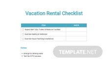 Vacation Rental Checklist Template