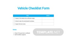 Vehicle Checklist Form Template